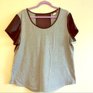 Jersey/Faux leather top